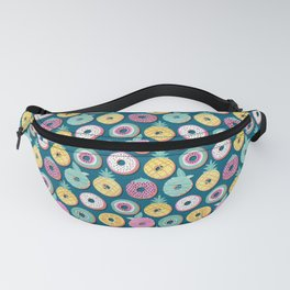 Undercover donuts // turquoise background pastel colors fruit donuts Fanny Pack