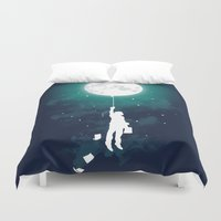 facebook Duvet Covers featuring Burn the midnight oil  by Picomodi