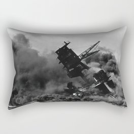 USS Arizona - burning after the Japanese attack on Pearl Harbor Rectangular Pillow