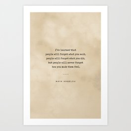 Maya Angelou Quote 01 - Typewriter Quote On Old Paper - Literary Poster - Book Lover Gifts Art Print