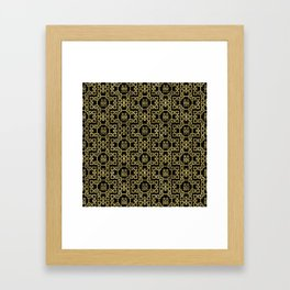Chinese Pattern Double Happiness Symbol Gold on Black Framed Art Print