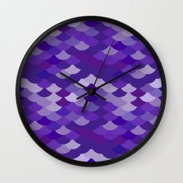 Ultra Violet wave, abstract simple background with japanese seigaiha circle pattern Wall Clock