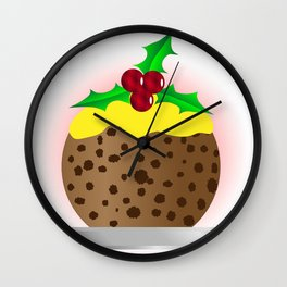 Christmas Pudding With Custard And Holly Sprig Wall Clock