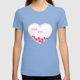 white heart with love T-shirt