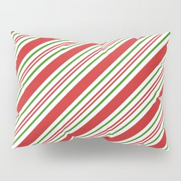 Red Green and White Candy Cane Stripes Thick and Thin Angled Lines Pillow Sham