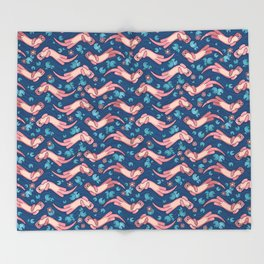 Otter and Water Lily Blue and Pink Throw Blanket