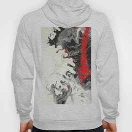 Black Red White Fluid Marble Painting Abstract Art Hoody