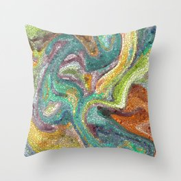 Turquoise, Copper, Gold, Green, Mosaic Design Throw Pillow