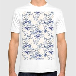 Chinoiserie Flowers Blue on Seashell T-shirt