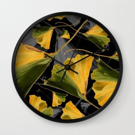 Yellow Ginkgo Leaves on Black Wall Clock