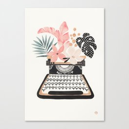 Floral Typewriter Canvas Print