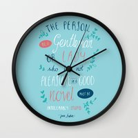 jane austen Wall Clocks featuring Jane Austen - Good Novel by Abbie Imagine