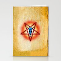 pentagram Stationery Cards featuring NATIVE PENTAGRAM - 018 by Lazy Bones Studios