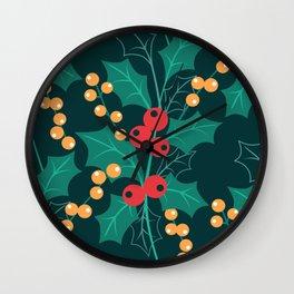 Christmas green decor Happy Holly Berry Wall Clock