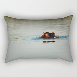 Cute Hippo Bathing Rectangular Pillow