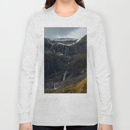 Icy Mountain Waterfall Landscape Long Sleeve T-shirt