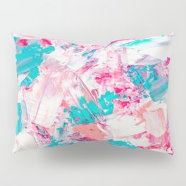 Modern bright candy pink turquoise pastel brushstrokes acrylic paint Pillow Sham