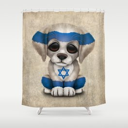 Cute Puppy Dog with flag of Israel Shower Curtain