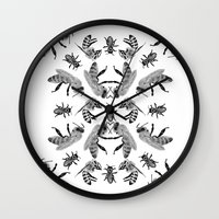 bees Wall Clocks featuring Bees by Lauren Spooner
