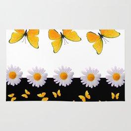 FRESH WHITE DAISIES & SPRING BUTTERFLIES & BLACK ART Rug