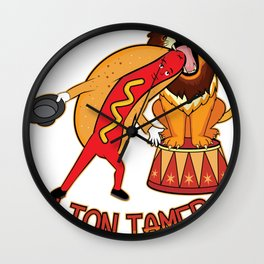Lion Tamer Hot Dog Putting His Head Into A Lions Mouth Funny graphic Wall Clock