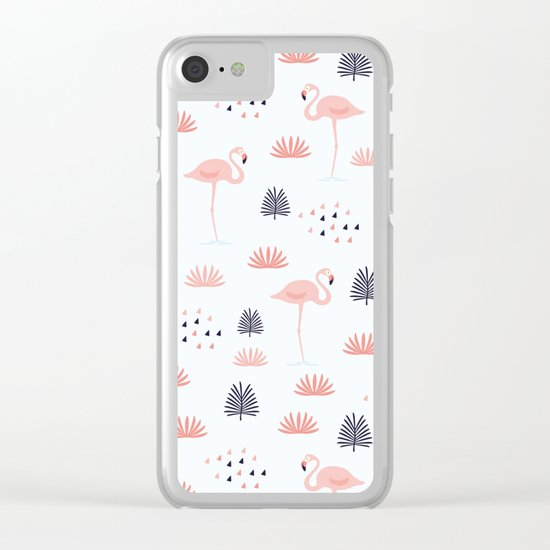 Flamingo Pattern Clear iPhone Case