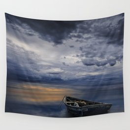 Morning Sunrise with Anchored Wooden Row Boat Wall Tapestry