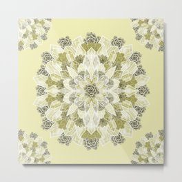 Crystals Succulents Mandala YELLOW Metal Print