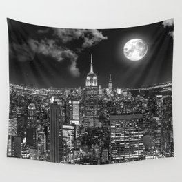 New York Under the Moon Wall Tapestry