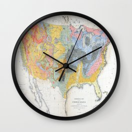 1874 Geological Map of the United States Wall Clock