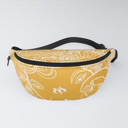 Ganesha Lineart Yellow White Fanny Pack