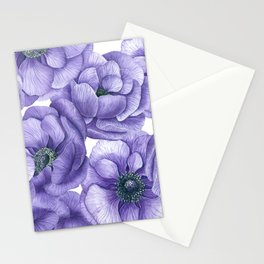 Violet anemone flowers watercolor patter Stationery Cards