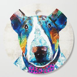 Colorful Bull Terrier Dog Art by Sharon Cummings Cutting Board