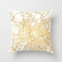 BRUSSELS BELGIUM CITY STREET MAP ART Throw Pillow