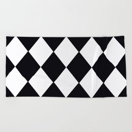 Harlequin Black and White and Gray Beach Towel
