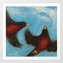 """In Sky"", painting of robins flying Art Print"