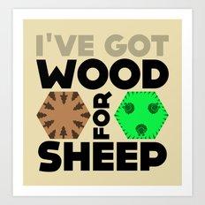 Wood for Sheep (Catan series) Art Print