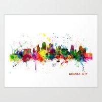 kansas city Art Prints featuring Kansas City Skyline by artPause