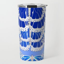 DECORATIVE BABY BLUE MONARCH STYLE BUTTERFLY PATTERNS Travel Mug