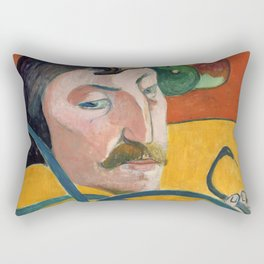 """Paul Gauguin """"Self-Portrait with Halo and Snake"""" Rectangular Pillow"""