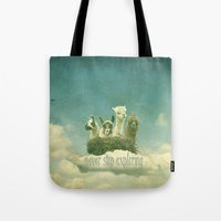 never stop exploring Tote Bags featuring Never Stop Exploring by Monika Strigel