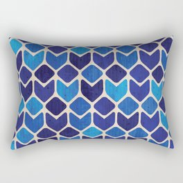 Retro blue abstract geometric art watercolor paint on paper texture illustration pattern Rectangular Pillow