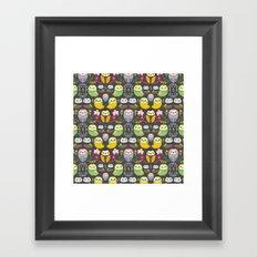 Owls and flowers Framed Art Print