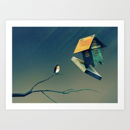 Flying Bird...house Art Print