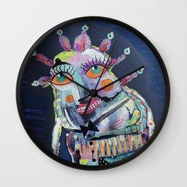 Strange Man With Orange Eyes Wall Clock