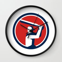 Cricket Player Batting Circle Retro Wall Clock