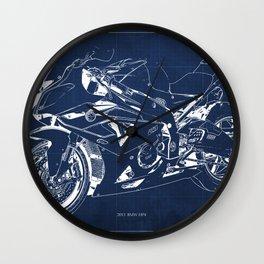 22-2013 HP4 BLUE, Blueprint motorcycle Wall Clock