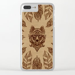 Tribal Wolf  and feathers leather embossed effect Clear iPhone Case