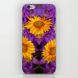 YELLOW SUNFLOWERS AMETHYST FLORALS iPhone Skin