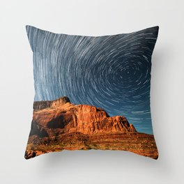 Time Lapse of Starry Night Sky and Desert Mountain Landscape Throw Pillow